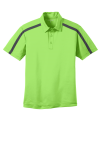 Lime SteelGrey Port Authority Silk Touch Performance Colorblock Stripe Polo